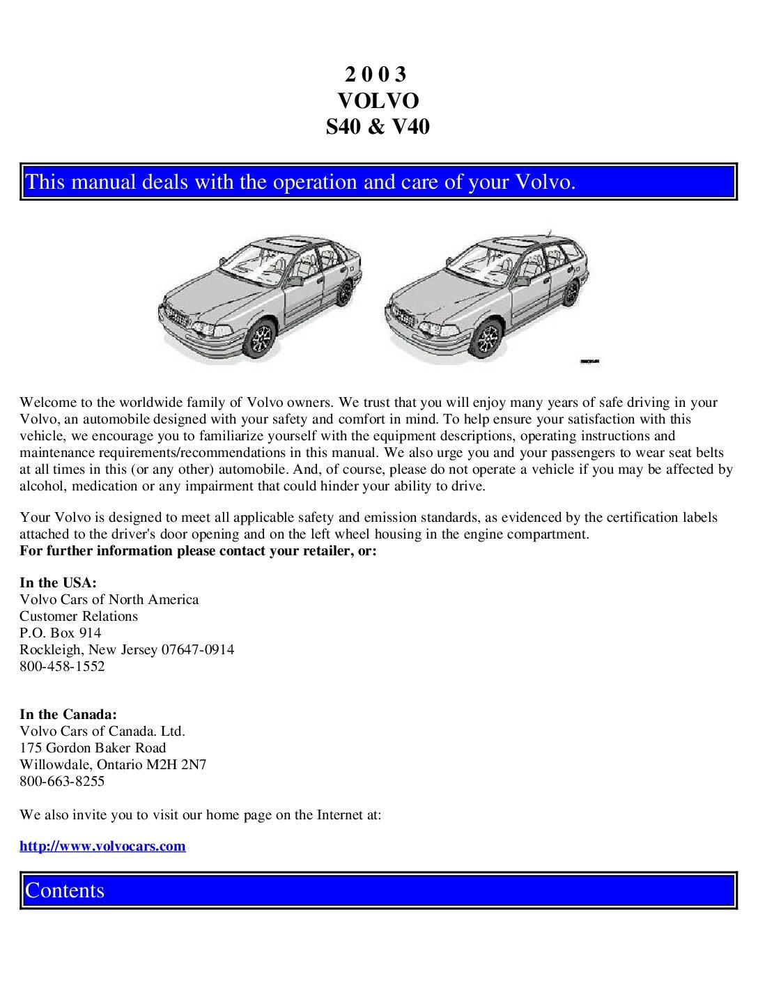 2003 volvo s40 owners manual