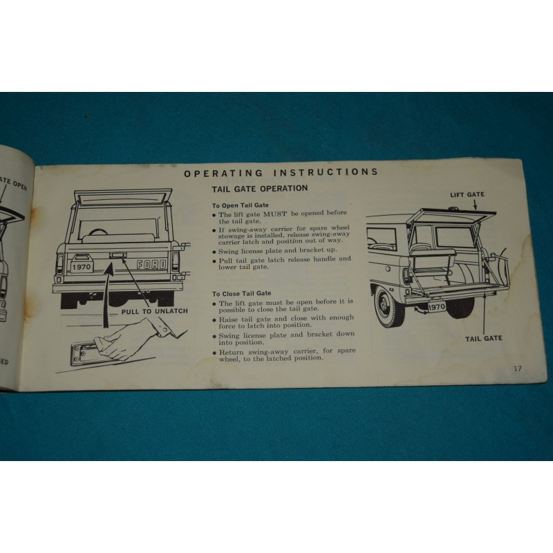 1970 ford bronco owners manual