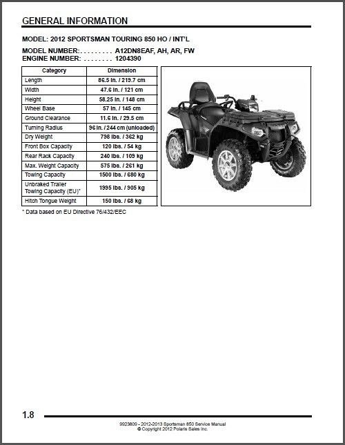 2013 polaris sportsman 850 xp service manual