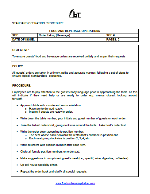 food and beverage service manual free download